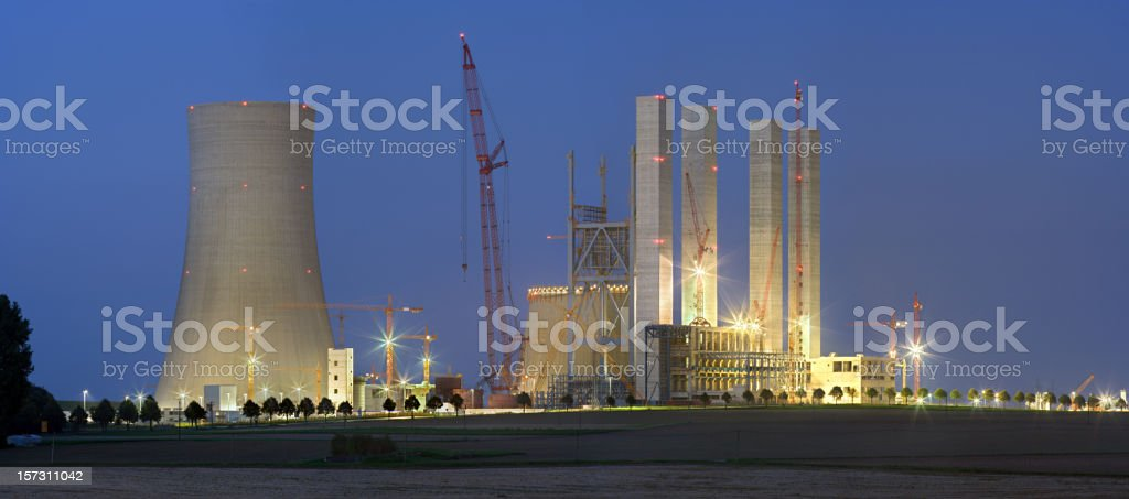 Power Station Construction Site At Night stock photo