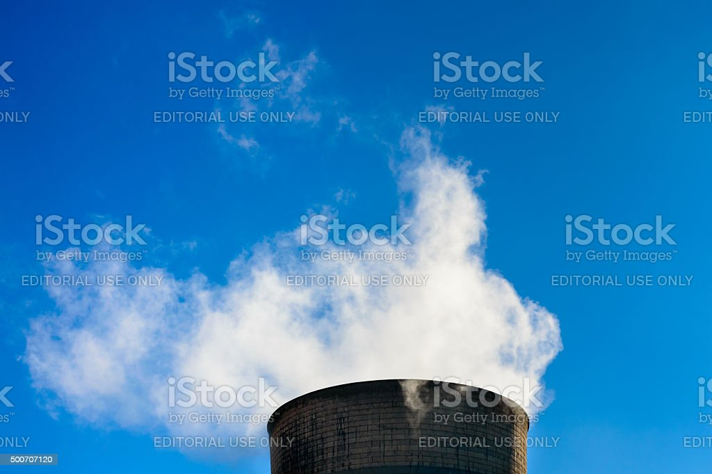Power station cooling tower steam stock photo