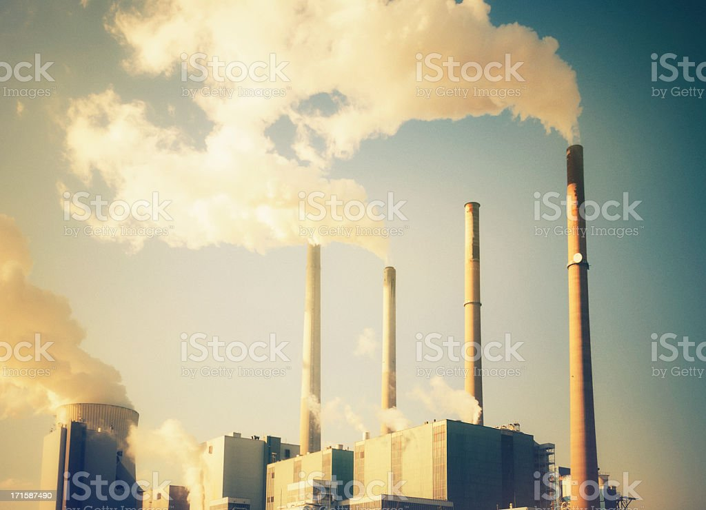 Power station in retro colors stock photo
