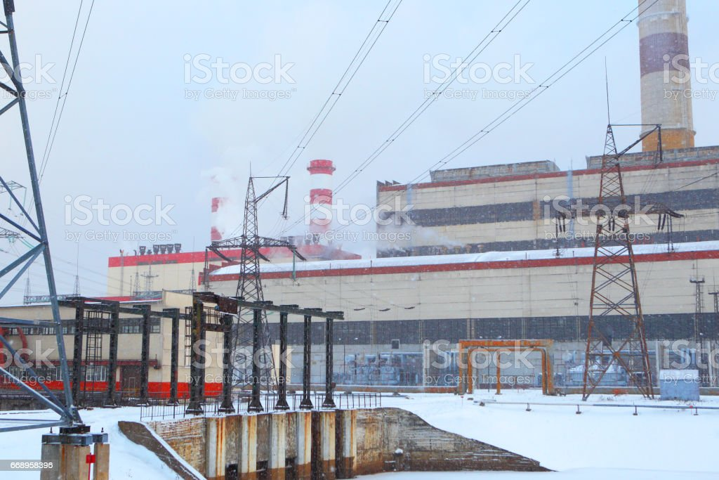 Power station in winter blizzard. foto stock royalty-free
