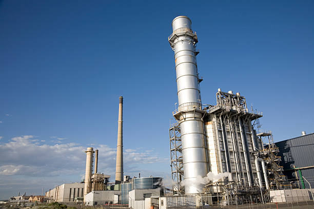 power station landscape - cogeneration plant stock photos and pictures