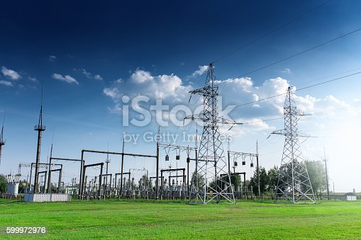 istock Power station on blue sky at daytime 599972976