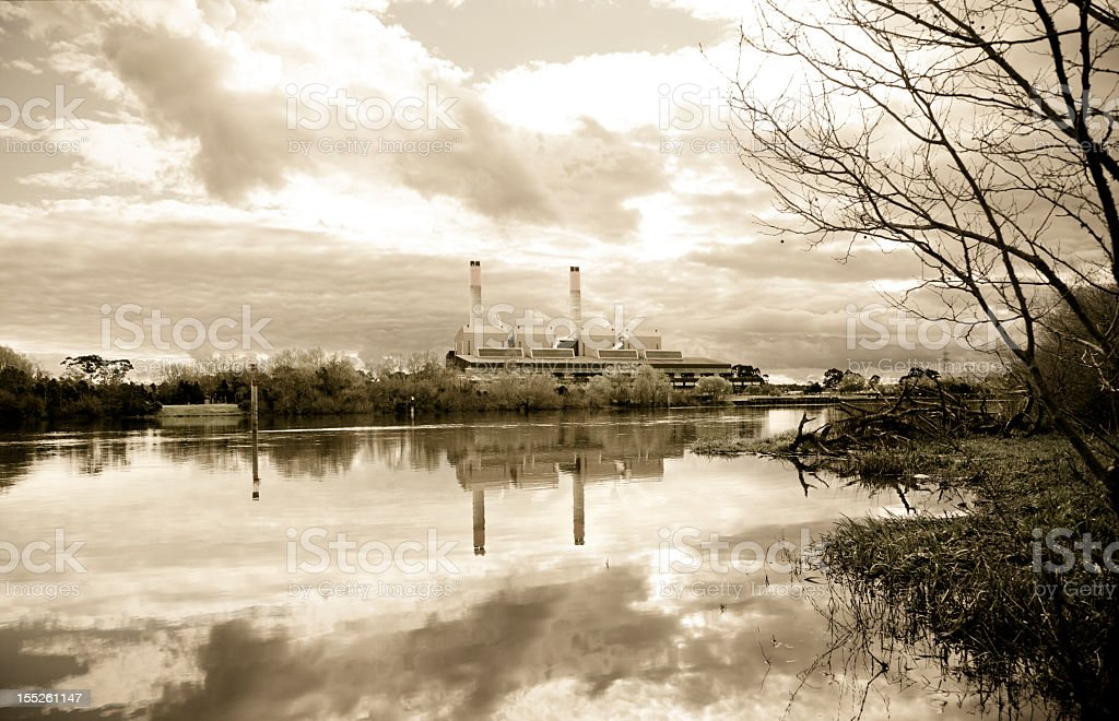 Power Station on River's Edge royalty-free stock photo