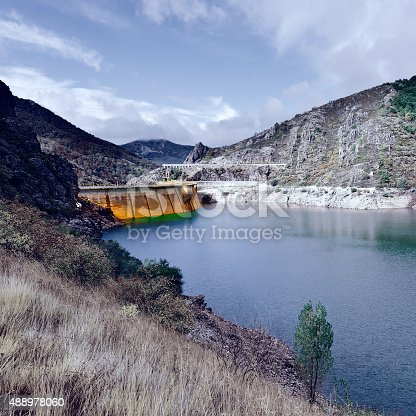 Dam of the Power Station in the Mountain of Cantabria, Spain, Vintage Style Toned Picture