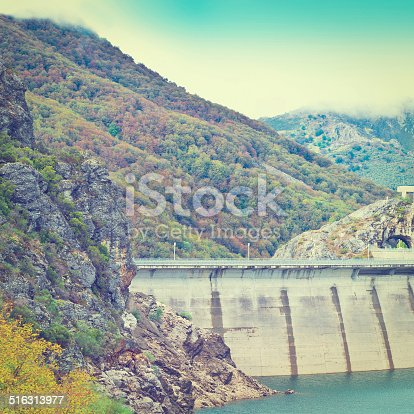 Dam of the Power Station in the Mountain of Cantabria, Spain, Retro Effect