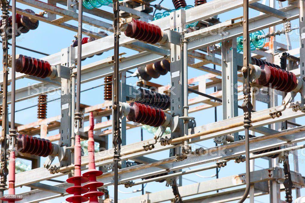 Kraftwerk Struktur Detail. Energieanlage. Elektrische Fertigung. Spannung – Foto