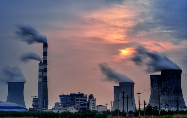 Power station sunset cloudy Coal-fired Power Station, Fumes, Greenhouse Gas, Environment, Factory power station stock pictures, royalty-free photos & images