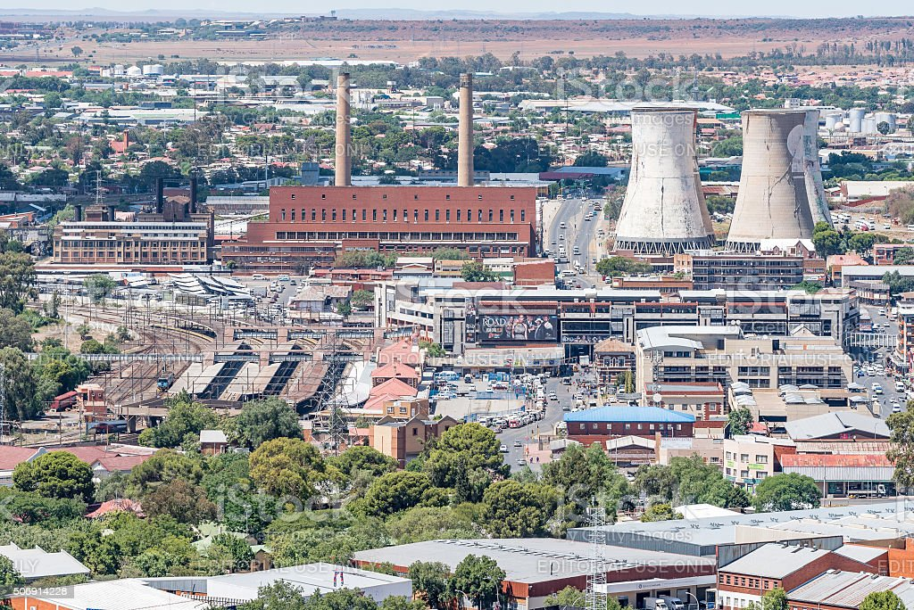 Power station, train station and taxi rank in Bloemfontein stock photo