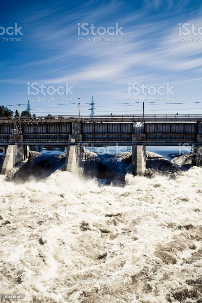 Power station with water to run electricity royalty-free stock photo