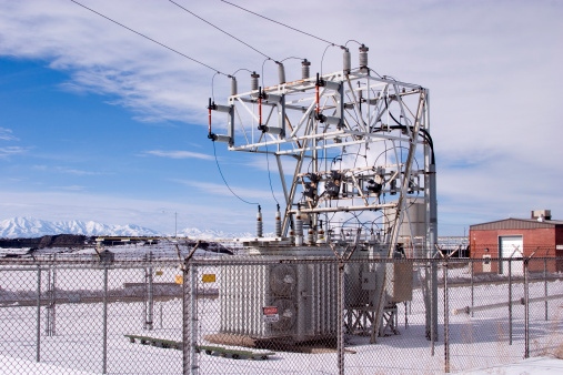 Electric power substation for a small industrial operation.