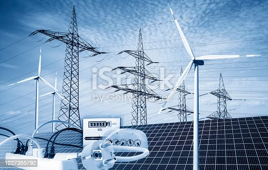 Power poles with solar panels, wind turbines, electricity meters, plugs and sockets