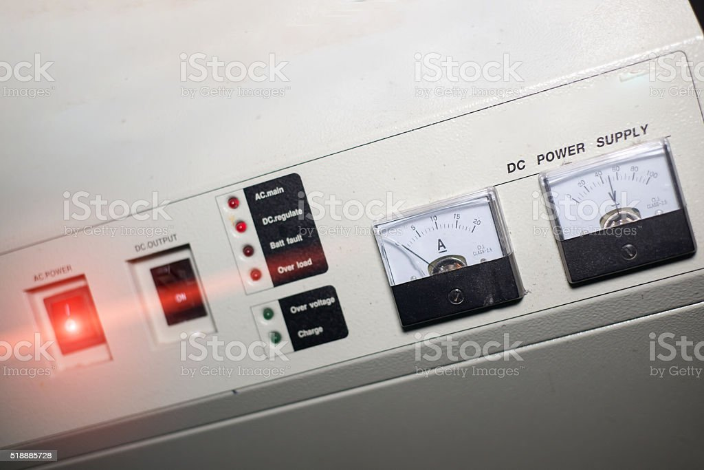 Power supply in data center room stock photo