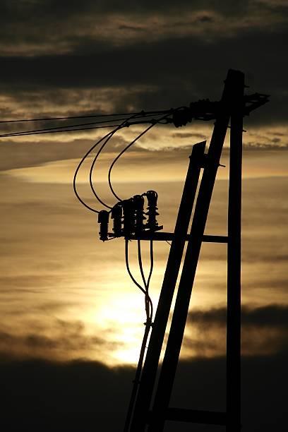 Power supply line stock photo