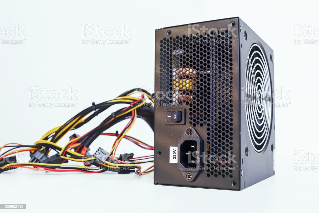 power supply with cables unit for full ATX tower pc stock photo