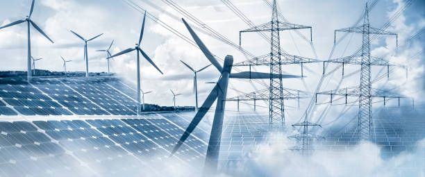 Power supply with solar energy and wind power stock photo
