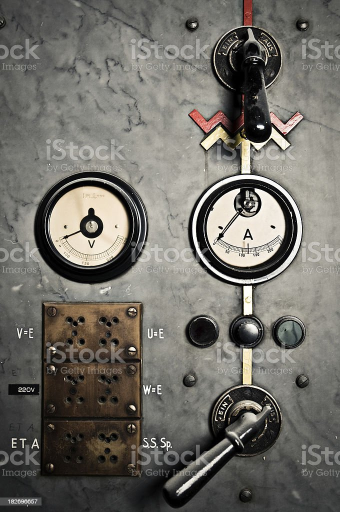 Power Switch Levers and meters form control room stock photo