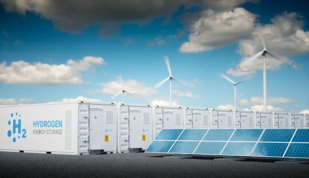 power to gas concept with fresh sunny sky. - pila a idrogeno foto e immagini stock