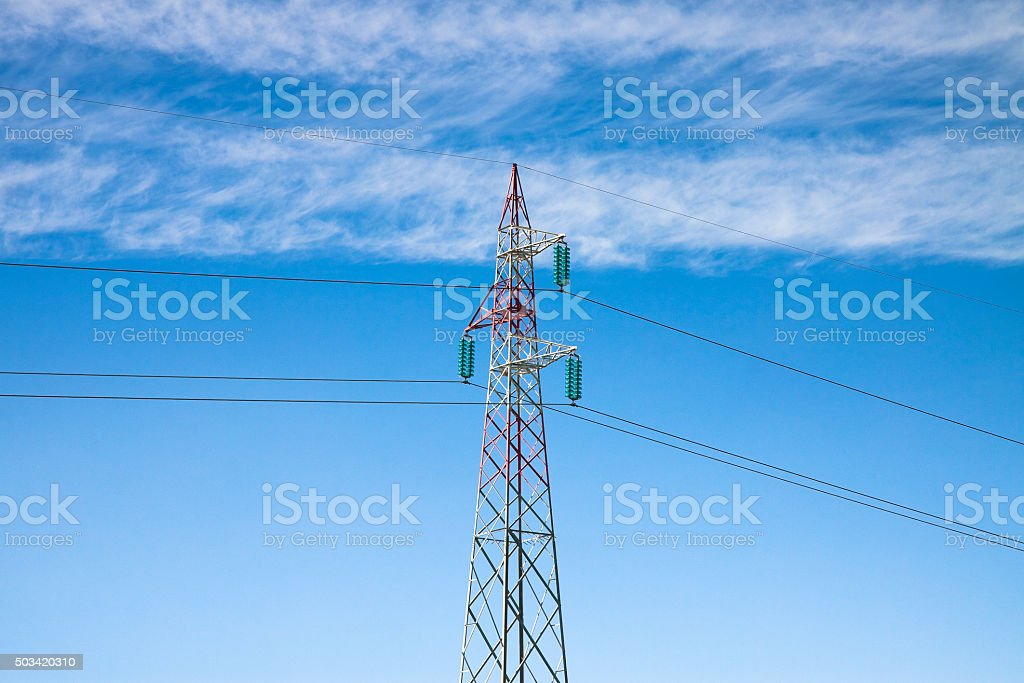 Power tower and transmission lines stock photo
