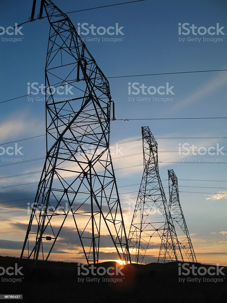 Power Towers at Sunset royalty-free stock photo