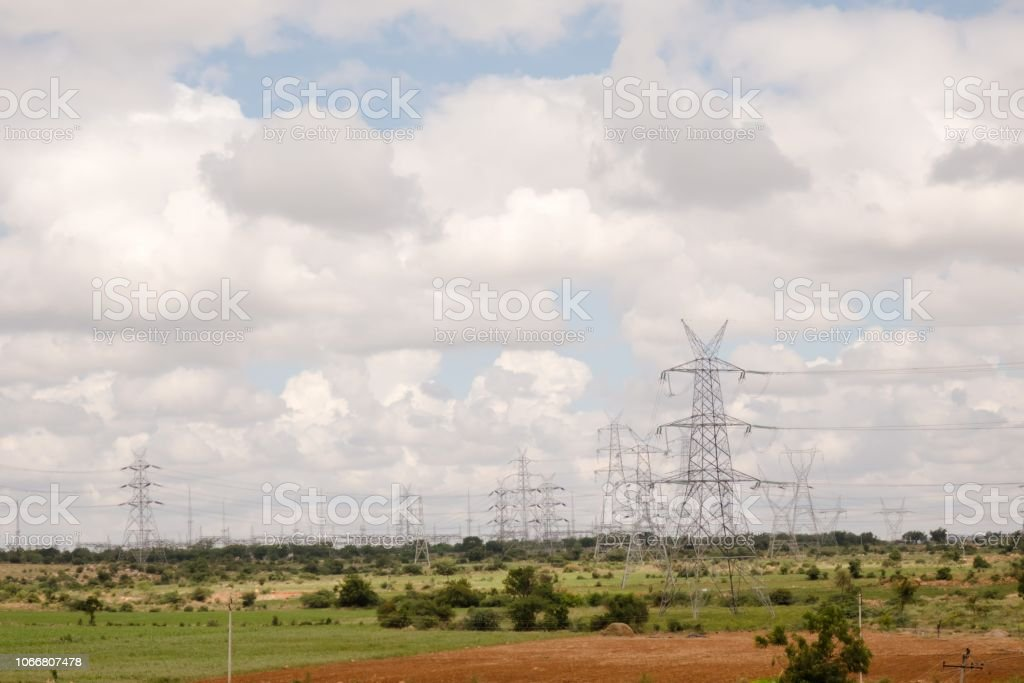 Power transmission lines, Andhra Pradesh, India stock photo