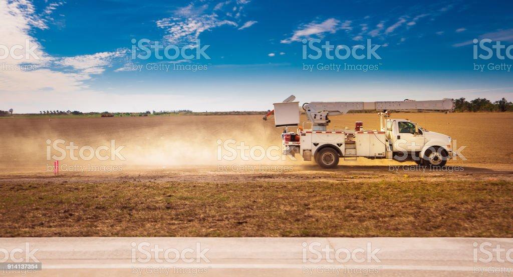 Power utility bucket truck stock photo