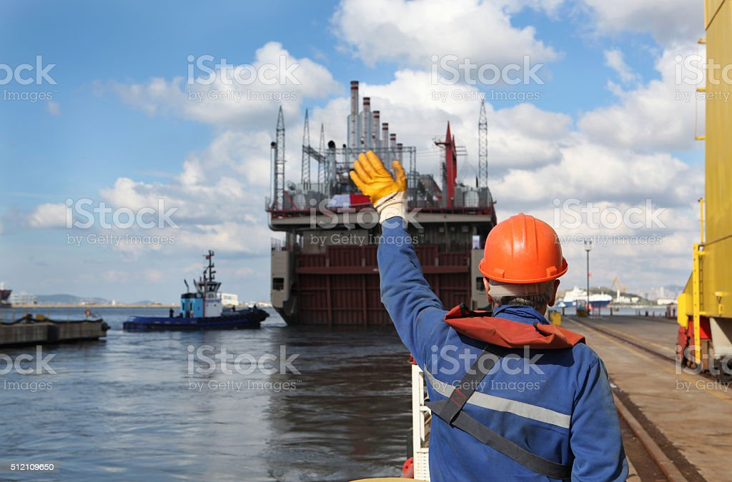 Power Vessel Leaving the Shipyard stock photo