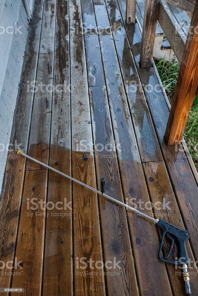 power washed deck boards royalty-free stock photo