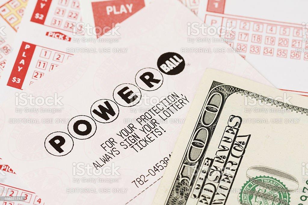 Powerball Lottery Ticket stock photo