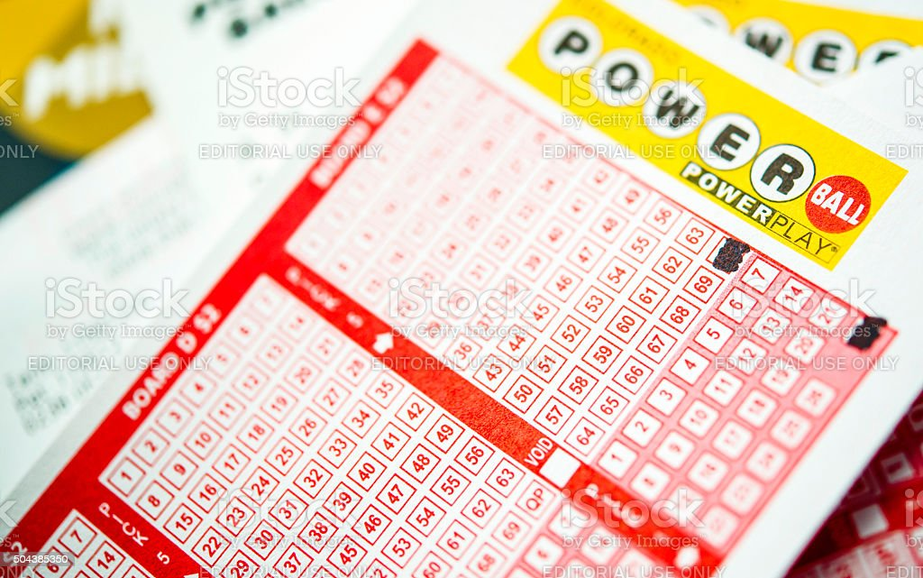 Powerball tickets for the lottery stock photo