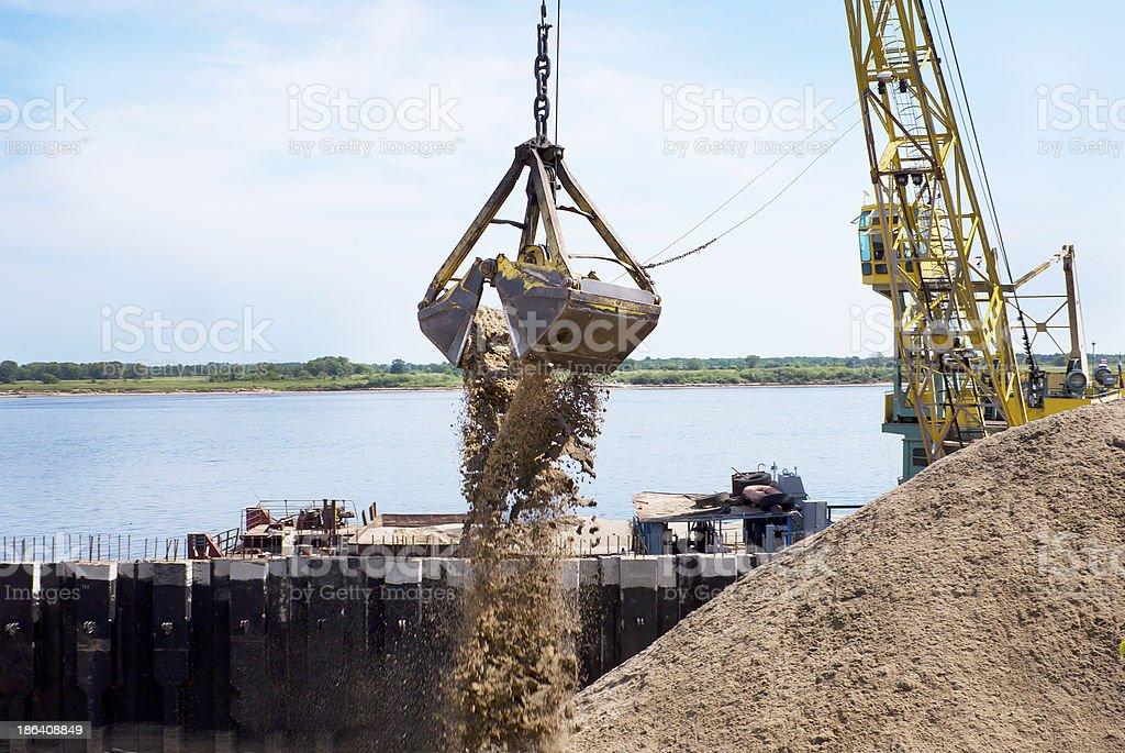 Powered floating crane stock photo