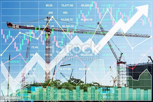 istock Powerful and impact Stock index data analysis of illustration business presentation financial sector illumination background. 1086486432