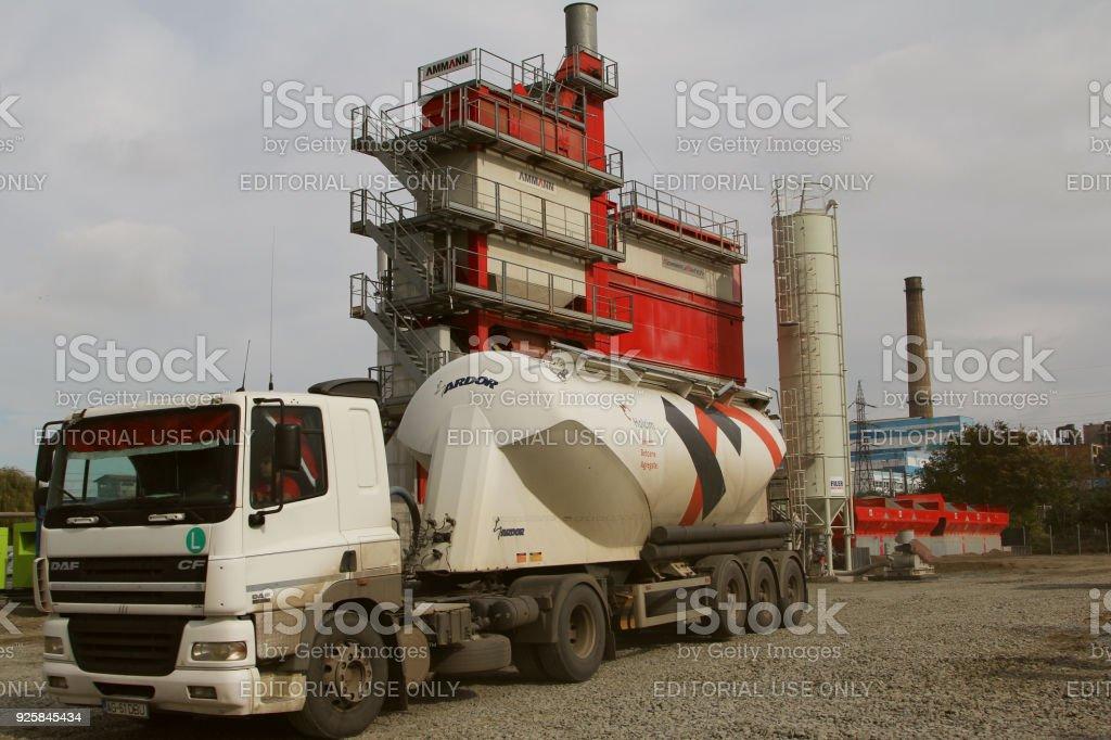 Powerful asphalt mixing plant stock photo