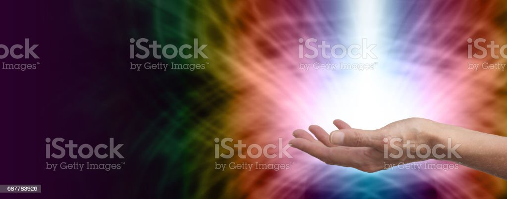Powerful beam of healing light stock photo