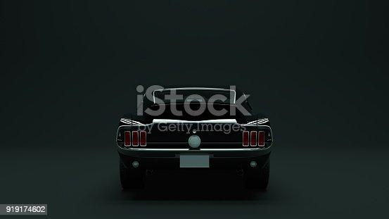 Powerful Black 1967  Muscle Car 3d illustration