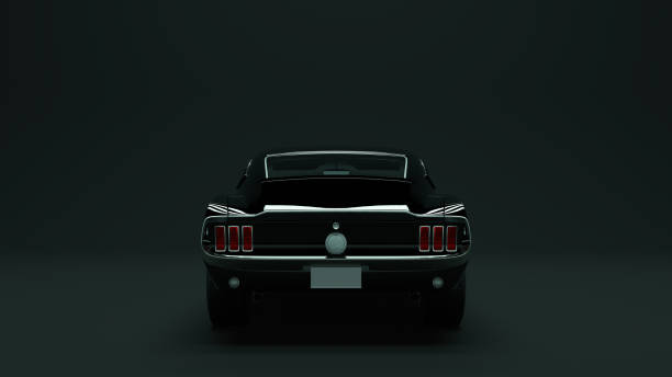 Powerful Black 1967  Muscle Car Powerful Black 1967  Muscle Car 3d illustration sports car stock pictures, royalty-free photos & images