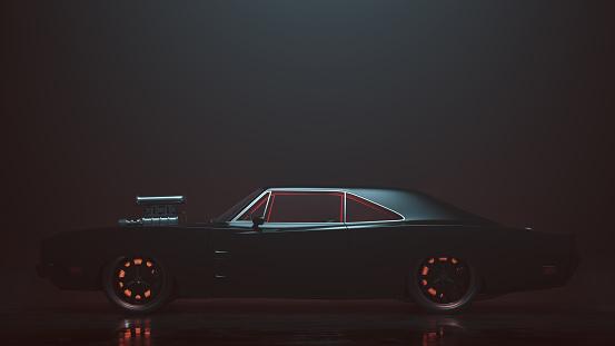 Powerful Black 1969 Muscle Car 3d illustration