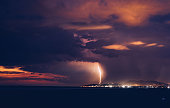Incredible lightning during the night thunderstorm.