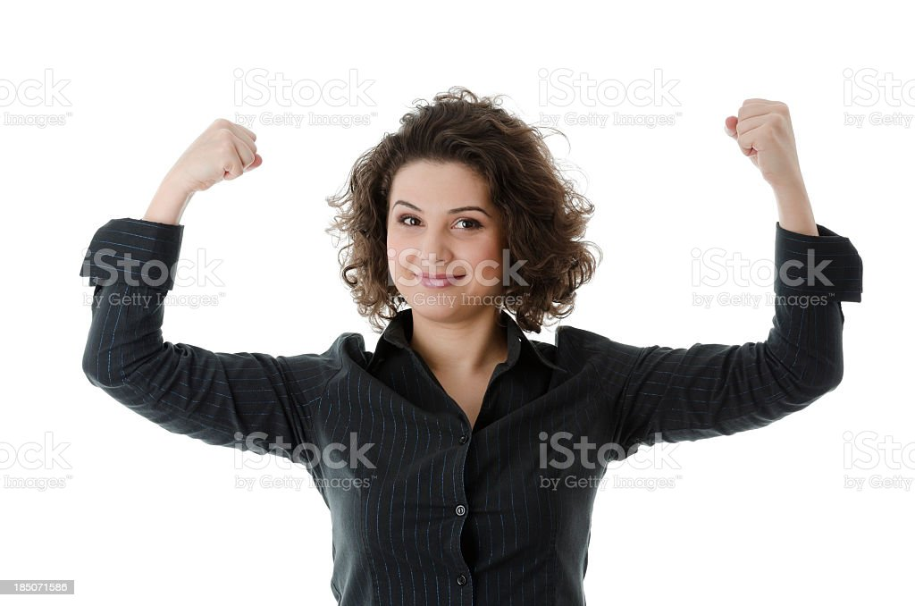 Powerful business woman showing her muscles, isolated on white stock photo
