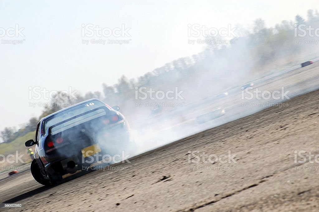Powerful car drifting stock photo