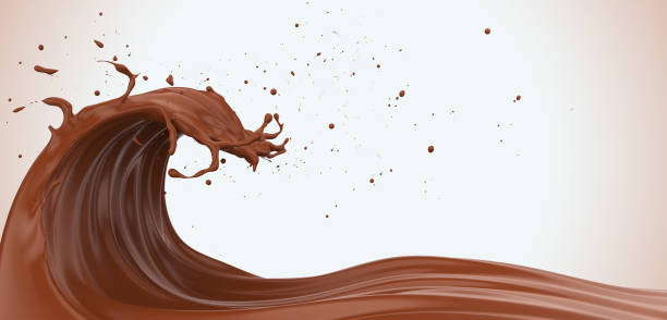 powerful chocolate wave - chocolate swirl stock photos and pictures