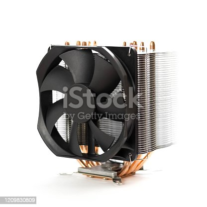 istock Powerful cooling for the CPU of a desktop computer. Close up. Isolated on a white background 1209830809
