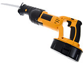 istock Powerful Cordless Reciprocating Saw, Wood Working Construction Tool, Isolated 471240207
