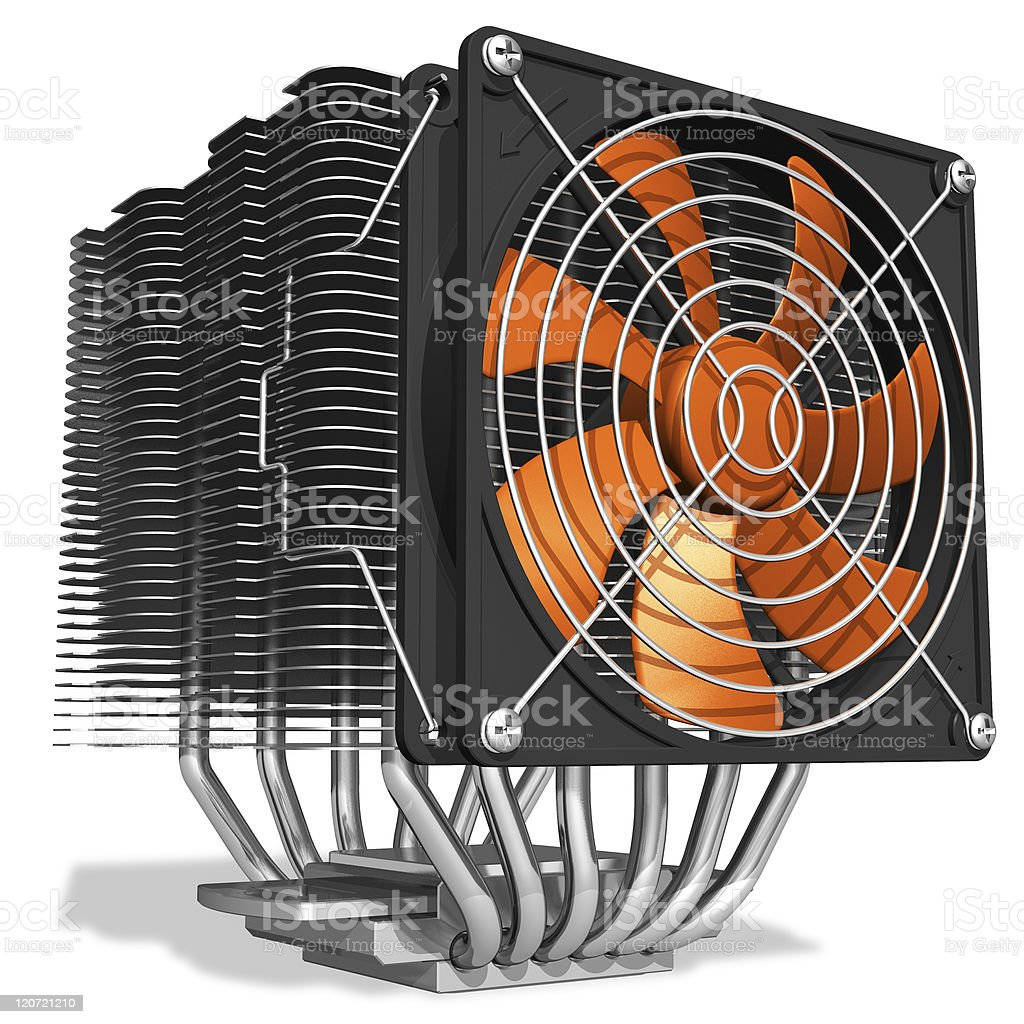 Powerful CPU cooler with heatpipes stock photo