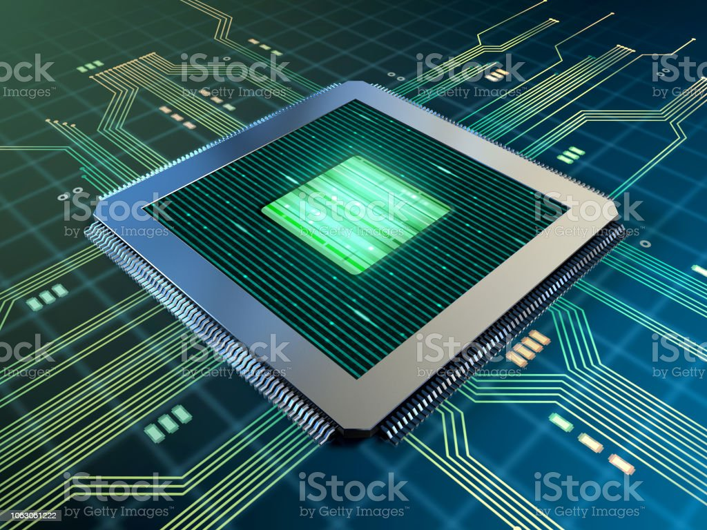 Foto De Poderoso Processador Em Uma Placa De Circuitos Impressos E