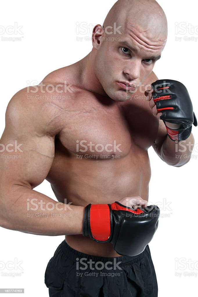 Powerful fighter in action royalty-free stock photo