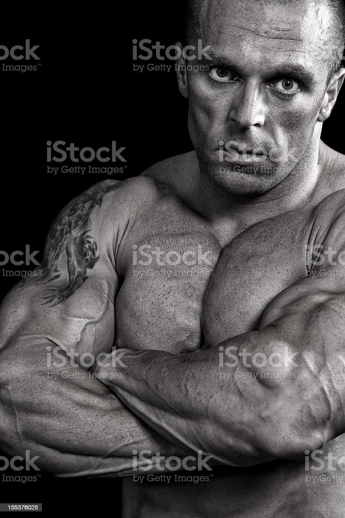 Powerful fighter portrait-isolated on black background royalty-free stock photo