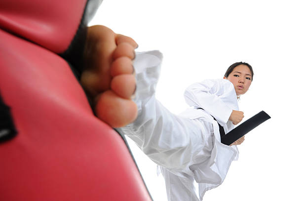 Powerful Finishing Side Kick stock photo