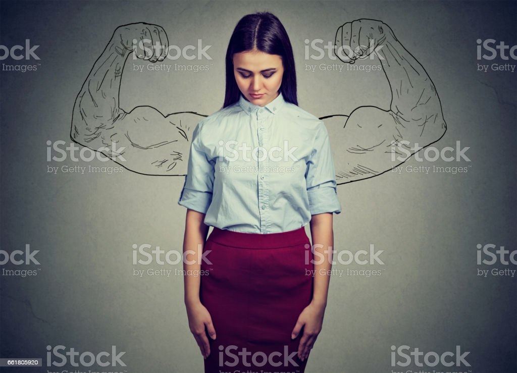 powerful girl reality vs ambition wishful thinking concept stock photo