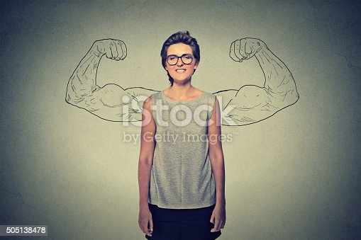 istock Powerful girl with glasses. 505138478