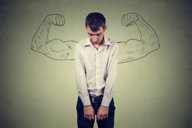 réalité Guy puissant vs ambition vœu concept pieux. - Photo